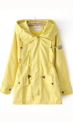 Letters print candy color drawstring  hooded coat yellow. for rainy days #RaincoatsForWomenLongSleeve #RaincoatsForWomenRainyDays