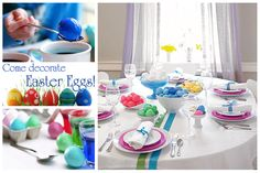 Love this simple yet bright Easter tablescape! Fresh Ideas for Your Spring Tablescapes - Blissfully Domestic Easter Table Settings, Easter Table Decorations, Easter Decor, Easter Ideas, Easter Dinner, Easter Brunch, Ostern Party, Easter Colors, Egg Decorating