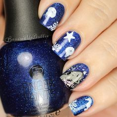 BruisedUpDollie Nails: Shark Week 2015 1st reverse stamping