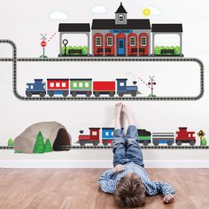 2 Freight Trains, Train Station and Tunnel Wall Decals with Straight and Curved Railroad Track