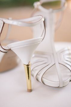 Gold heeled Louis Vuittons. Photography by picotteweddings.com, Event Planning by brookekeegan.com, Floral Design by elegant-by-design.com, Read more - http://www.stylemepretty.com/2013/06/21/mission-viejo-wedding-from-brooke-keegan-weddings-and-events/