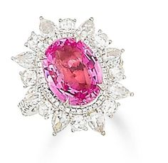 A padparadscha sapphire and diamond ring  The oval-cut padparadscha sapphire, weighing 5.67 carats, within a brilliant-cut diamond border and surrounded by a frame of circular and pear-shaped rose-cut diamonds, the openwork gallery and shoulders set with brilliant-cut diamonds, mounted in 18k white gold, the diamonds estimated to weigh approximately 2.10 carats in total, ring size 6  Notas de rodapé Accompanied by a certificate from GRS, stating that the 5.67 carats padparadscha sapphire is…