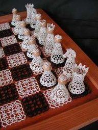 Exquisite crochet chess set