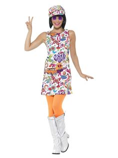 weiß und orange 1960 s Stil groovy chick Frauen adult halloween-Kostüm - large Hippy Fancy Dress, Fancy Dress Hats, Adult Fancy Dress, Halloween Fancy Dress, Halloween Kostüm, Halloween Costumes, Hippie Men, 1970s Hippie, 1960s Costumes