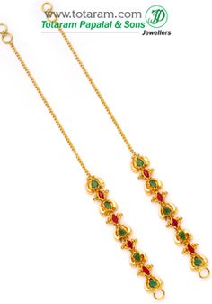22K Gold Ear Chain (Matilu) with Ruby & Emerald - 1 Pair - GEM068 - Indian Jewelry from Totaram Jewelers