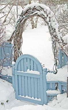 Christmas ~ blue gate,  snow