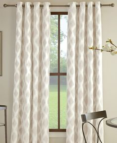 The Anaheim Grommet Curtain Panel Collection from Miller Curtains features stylish panels with a woven geometric pattern and a grommet top design for easy hanging. | Cotton/polyester | Machine washabl