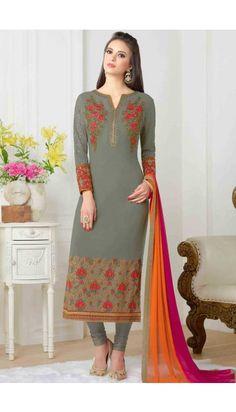 Grey georgette Churidar suit online  http://www.andaazfashion.co.uk/salwar-kameez/churidar-suits