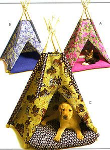 mccall's sewing patterns for dogs | SEWING PATTERN to MAKE PETS DOGS CATS ANIMAL TEEPEE TENTS & PILLOWS ...