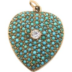 Heart shaped lockets convey the most universal emotions of love and affection.  Turquoise in jewelry has been used for centuries and the Victorians