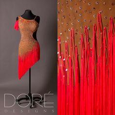 Nude Latin w/ Fluorescent Red Fringe & Arm Drape
