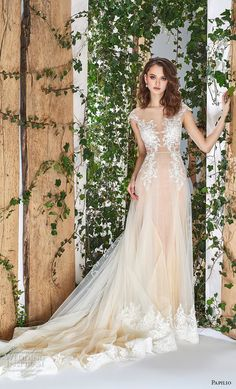 papilio 2018 bridal cap sleeves sheer bateau deep sweetheart neckline romantic champagne a line wedding dress open v back chapel train (9) mv -- Papilio 2018 Wedding Dresses