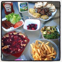 #chefdarrick makes burgers on the grill, French fries, beets, roasted brussel sprouts and green beans, and plum cobbler.