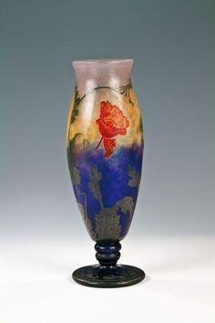 """Daum Frères, Nancy, glass vase """"Pavot d'Orient"""" design, Henri Bergé."""