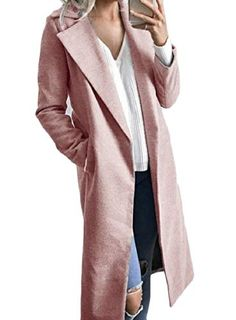 YY-qianqian Womens Fashion Fleece Overcoat Double Breasted Woolen Trench Coat Coat