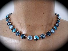 Chunky Denim Blue Tennis Necklace, Statement Necklace, Dark Blue Crystal Necklace, handmade, Not Sabika , blue necklace, midnight blue by TheCrystalRose for $85.00