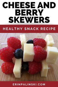 Cheese and berry skewers make a delicious healthy appetizer or healthy snack recipe. They're so quick to throw together and both adults and kids will love snacking on them. Plus, this is a 3 ingredient recipe - so simple!