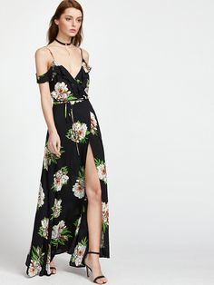 c5d548a5a5 Botanical Print Ruffle Drape Cold Shoulder Wrap Dress -SheIn(Sheinside)  Dresses Online Australia