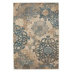 Capel Rugs Abbey 2461 Celtic Indoor/Outdoor Area Rug - The blue and beige Celtic medallions on this Capel Rugs Abbey 2461 Celtic Indoor/Outdoor Area Rug lay a foundation of style for your patio, porch,...