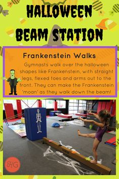 For more Halloween beam ideas, check out happy gymnastics Gymnastics Games, Gymnastics Warm Ups, Gymnastics At Home, Toddler Gymnastics, Gymnastics Lessons, Preschool Gymnastics, Tumbling Gymnastics, Gymnastics Coaching, Gymnastics Stuff