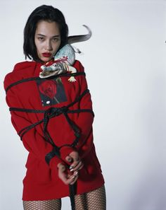 The lensman behind some of the most stylish erotica teams up again with Kiko Mizuhara (they shot the first ever i-D Japan cover together), who models streetwear featuring original Araki photography.