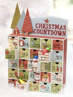 Full of Treats    Add to your family's traditions with a customized calendar. Glue favorite papers and accents to a premade box-style Advent calendar.    Idea: You may find boxes like this at resale shops or flea markets!