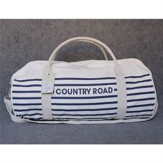 Country Road Tote Bag - Navy Thin Stripe - Promotional Offers- - TopBuy.com.au