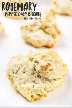 Rosemary Pepper Drop Biscuits are an easy to make side for soups and stews. No kneading or cutting biscuits, just mix, drop, and bake! Budgetbytes.com #biscuits #bread No Dairy Recipes, Baking Recipes, Vegetarian Recipes, Drink Recipes, Bread Recipes, Drop Biscuits, Bread Bun, Bread And Pastries, Appetizer Recipes
