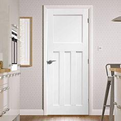 A panelled white primed door in the Internal Door Range. A classic 1930s design with flat panels. #1930doors #whitedoors