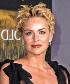 Sharon Stone Short Messy Hairstyle