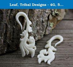 "Leaf, Tribal Designs - 4G, 5mm Gauge Stretcher Earrings - Bone Carving Body Piercings, Water Buffalo Bone. 4 Gauge, 5mm / 61mm x 22mm / 2.4 x 0.9 inches / Material - Water Buffalo Bone, 3/16""."