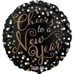 Confetti Celebration balloon, black and gold party