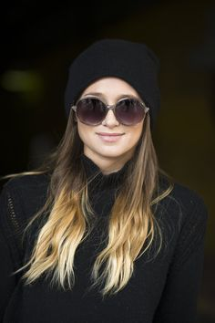 We don't care who says ombré is out- we love this look, especially the Jackie O glasses