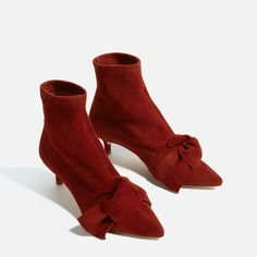 Image 3 of LEATHER HEELED ANKLE BOOTS WITH BOW from Zara
