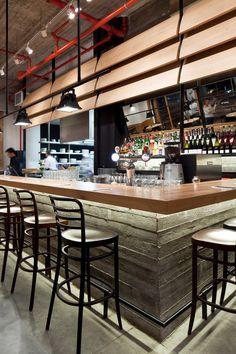 Industrial Look: Wood And Concrete For Giraffe Restaurant, Tel Aviv   DesignRulz.com