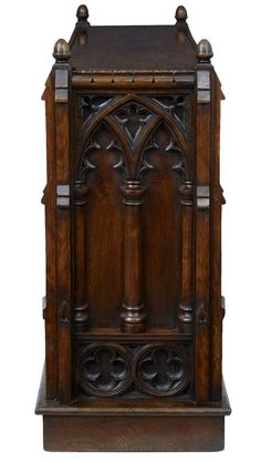 19th Century Carved Oak Gothic Double Sided Bookcase | From a unique collection of antique and modern bookcases at http://www.1stdibs.com/furniture/storage-case-pieces/bookcases/