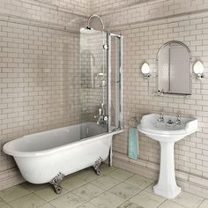 Burlington Hampton Shower Bath 1700 x RH Freestanding The Hampton Shower Bath from Burlington poses a stylish solution to an old problem. Combining the stature and style of a freestanding bath with the practicality of a shower bath, the Hampton can Freestanding Bath With Shower, Free Standing Bath, Traditional Bathroom, Bathroom Inspiration, Bathrooms Remodel, Bathroom Suites, Shower Tub, Free Standing Tub, Bathroom Design