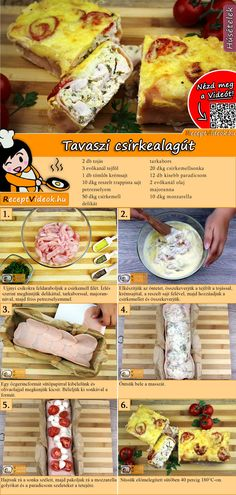 Chicken breast, poultry ham, mozzarella and tomatoes - these ingredients will make a delicious sprin Meat Recipes, Cooking Recipes, Healthy Recipes, Low Calorie Snacks, Tasty, Yummy Food, Hungarian Recipes, Snacks Für Party, Sweet And Salty