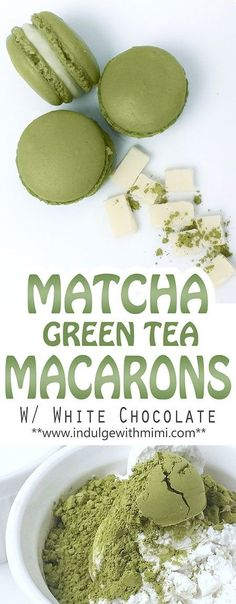 Recipe for Matcha Green Tea INFUSED macaron shells with white chocolate. - Recipe for Matcha Green Tea INFUSED macaron shells with white chocolate. Green Tea Dessert, Matcha Dessert, Green Desserts, Green Tea Recipes, Sweet Recipes, Fancy Recipes, Green Tea Macarons, Green Tea Cookies, Summer Cookies