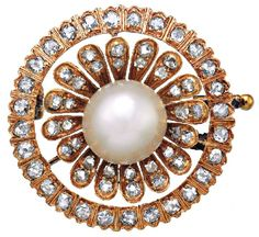 PEARL AND DIAMOND BROOCH, CIRCA 1880  Centring a pearl measuring approximately 9.00mm set above a flowerhead motif of old mine cut diamonds to a border of similarly cut diamonds, the diamonds together weighing approximately 1.80 carats, mounted in 14ct gold.