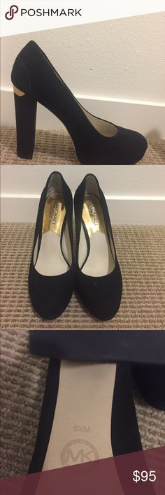 👠 Michael Kors suede black heels 👠 Excellent condition,m. it has a tiny stain one side of the shoes, but it's not noticeable. Please check the 3rd photo. Michael Kors Shoes Heels