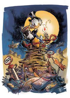 Scrooge McDuck by Giorgio Cavazzano (quite sure this is Mottura, though) Walt Disney, Disney Family, Disney Love, Disney Magic, Disney Art, Disney E Dreamworks, Disney Pixar, Cartoon Art, Cartoon Characters