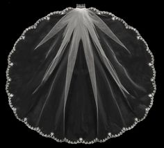 Beautiful Floral Beaded Embroidery Elbow Length Wedding Veil - Affordable Elegance Bridal -