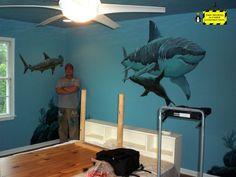 "Boyertown ""shark room"" - Mural Photos in Boyertown, Pennsylvania Nursery Room, Boy Room, Kids Bedroom, Bedroom Murals, Wall Murals, Underwater Room, Ocean Themed Rooms, Shark Room, Shark Art"