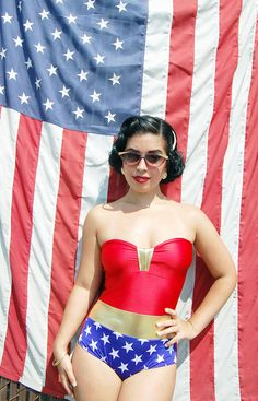 SALE// Wonder Woman bathing suit swimsuit or costume xs-XL made to order. $95.00, via Etsy.