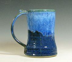 Coffee mug, beer tankard stein cup ceramic, glazed in sapphire blue, handmade stoneware by hughes pottery