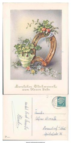ak4480 Herzlichen Glückwunsch zum Neuen Jahr - Hufeisen Pilz Glücksklee in Sammeln & Seltenes, Ansichtskarten, Motive | eBay