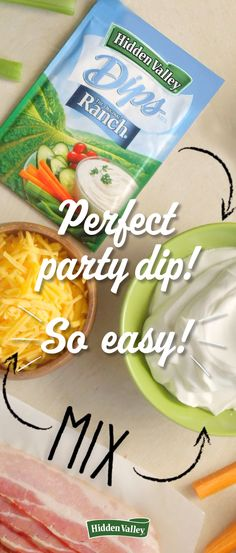 Hosting a party? Be sure to try Hidden Valley's Bacon & Cheddar Dip, guaranteed to impress all of your guests. Appetizer Dips, Appetizers For Party, Appetizer Recipes, Crackers Appetizers, Paleo Appetizers, Party Dips, Party Snacks, Dip Recipes, Snack Recipes