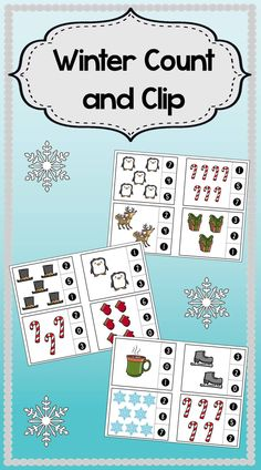 Winter Count and Clip Cards. Students practice their counting skills with these adorable count and clip cards. Simply count the number of Christmas themed clip art on the card and clip the correct number it represents!