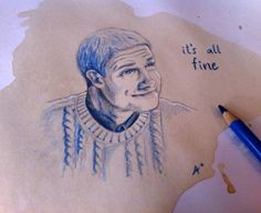 Quick drawing. John H. Watson from Sherlock BBC, one of my favorite moments ! I use my coffee and blue pencil ;) By Anaïs Taï mïo